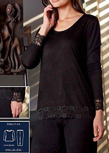 Pijama Mujer De Entretiempo Guasch Negro Lencero De Viscosa KE490 D.104 (M): Amazon.es: Ropa y accesorios