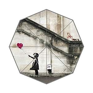 Graffiti Artist Banksy Famous Work&Balloon Girl Background Triple Folding Umbrella!43.5 inch Wide!Perfect as Gift!