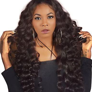 Women s Human Hair Lace Wig Peruvian Human Hair Lace Front 250% Density  With Baby Hair Loose Wave Wig Natural Black Medium Long Natural  1dfaa62977