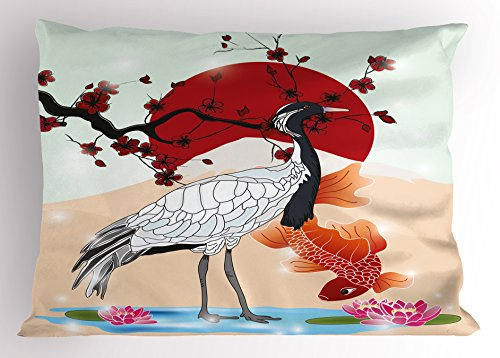 Koi Fish Pillow Sham by Lunarable, Japanese Culture Inspired Crane and Sea Animals with Sakura Branch Asian Artwork, Decorative Standard Queen Size Printed Pillowcase, 30 X 20 Inches, (Fish Sham)
