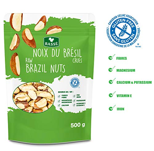 Nuts Chopped (Basse Raw Brazil Nuts, Shelled, Whole, Unsalted, Resealable Bag, Gluten Free, Kosher Certified 1.1 lb)