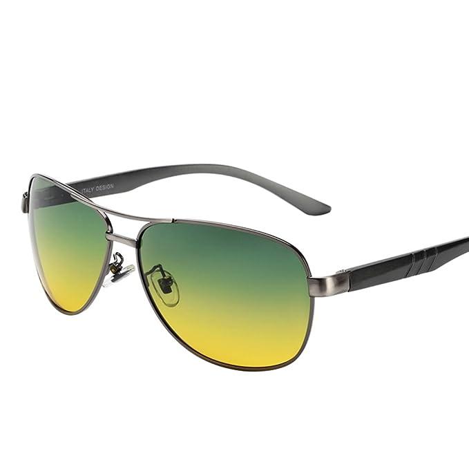Gafas de piloto de los hombres/Conducir de día y de noche espejos/Hombres y mujeres gafas de sol polarizadas boomers rana espejo de visión nocturna-A: ...