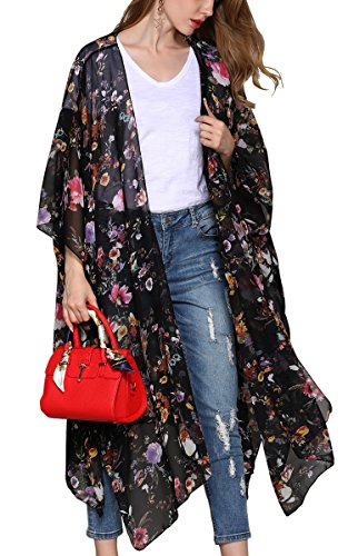 al Oversized Floral Kimono Cardigan Sheer Tops Loose Blouse ()