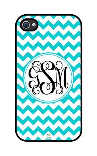 iZERCASE Monogram Personalized Turquoise Chevron Pattern with White Circle rubber iphone 4 case - Fits iphone 4 & iphone 4s T-Mobile, Verizon, AT&T, Sprint and International (Black) (Turquoise Chevron Iphone 4 Case)