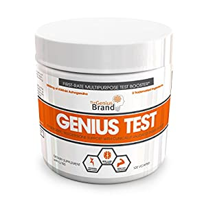 GENIUS TEST - The Smart Testosterone Booster For Men   Natural Energy Supplement, Brain & Libido Support, Fat Loss   Muscle Builder with KSM-66 Ashwagandha, Shilajit and Tongkat Ali,120 Veggie Pills natural male testosterone booster - 51xtgZDW7WL - natural male testosterone booster