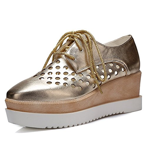 MayBest Womens Hollow Out Lace-up Fashion Wedge Mid Heel Oxfords Shoes (Gold 5 B (M) US)