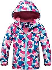 Kid Girls Hoodies Jacket Thermal Fleece Lined Windbreaker Waterproof Outdoor Sport Coat for Spring Fall