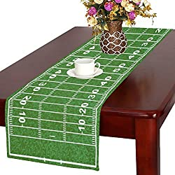 InterestPrint American Football Field Long Table Runner 16 X 72 Inches, Green Sport Field Rectangle Table Runner Cotton Linen Cloth Placemat for Office Kitchen Dining Wedding Party Home Decor