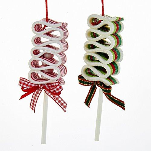 Kurt Adler 1 Set 2 Assorted Ribbon Lollipop Clay Dough Ornaments