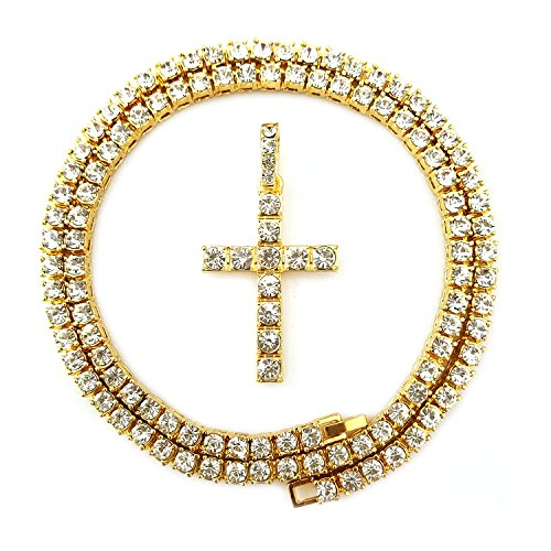 HH Bling Empire Mens Iced Out Hip Hop Gold Artificial Diamond Ankh Cross cz Tennis Chain 22 Inch (Tennis Chain & Cross A) (Cross Hop Hip Out Pendant)