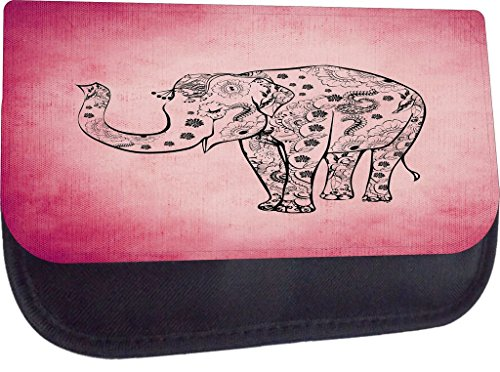 Aztec Pattern-Filled Elephant on Grunge Pink-Wallet Case for the Apple iPhone 6 Plus, 6s Plus-4s Universal with a Flap Cover and Magnetic Closing Flap-PU Leather and Suede