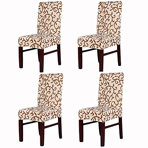 Awland Dining Chair Slipcovers Protector Removable Short Stretch Spandex Dining Room Banquet Chair Seat Cover for Kitchen Bar Hotel and Wedding Ceremony 4PCS – Champagne + Coffee