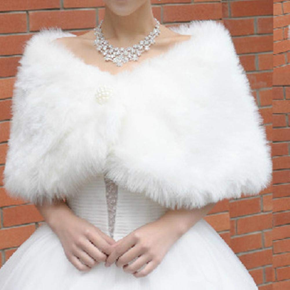 decorazione invernale per giacca mantello da sposa con perle artificiali cappotto Stola da sposa in finta pelliccia bianca