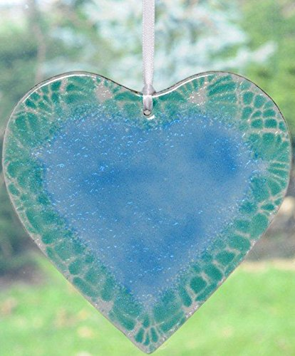 Friendship Fused Glass Heart in Shades of Turquoise