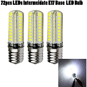 Intermediate Base Led Light Bulbs: Ashialight Bright White LED Daylight Bulb E17 Intermediate Base Light Bulb,120  volt,550LM, Equivalent 40w Incandscent Bulb (Pack of 3),Lighting