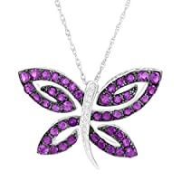 """2 ct Natural Amethyst Butterfly Pendant Necklace with Diamonds in Sterling Silver, 18"""""""