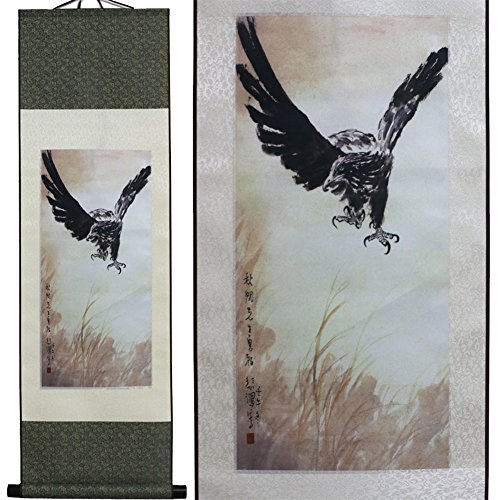 sweethome Eagle Asian Silk Scroll & Picture Scroll & Wall Scroll Calligraphy Hanging Artwork (The Eagle in the Hunting)