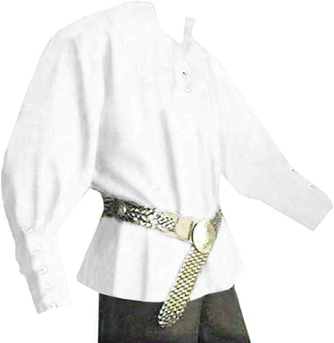Camisa medieval con cordones para hombre, diseño de pirata, mercenario, escocesa, manga ancha, estilo vikingo, estilo renacentista