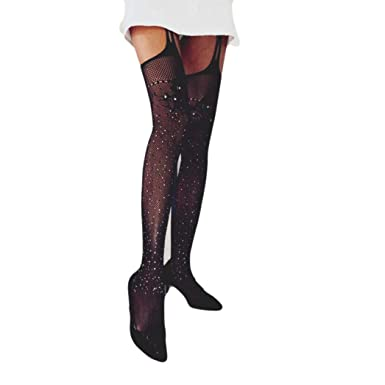 Collant Sans Couture Strass Femme OverDose Sexy Métallisés Fantaisie Bas  Hiver Transparente Stretch Stockings Socks df02138d576