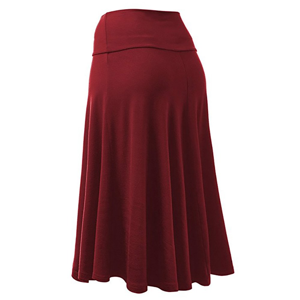 Womens Solid Lightweight Knit Elastic High Waist Flared Pleated Midi Skirt
