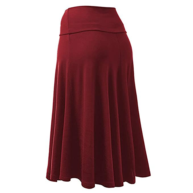 Birdfly 27/%0ff Womens 4 Solid Color Knee-Length Empire Office Working Formal Casual Pleated Skirt Plus Size 2L 3L