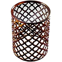 19 Aluminum Bronze Glass Top Lattice Accent Table Decorative Side Table Garden Stool