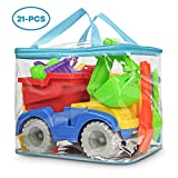 KKONES Beach Toy Truck with Bag, Suitable for Toddler Over Fun Sand Toys Set for Girls and Boys Kids Outdoor Toys