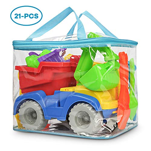 Beach Sand Toy - KKONES Beach Toy Truck with Bag, Suitable for Toddler Over Fun Sand Toys Set for Girls and Boys Kids Outdoor Toys
