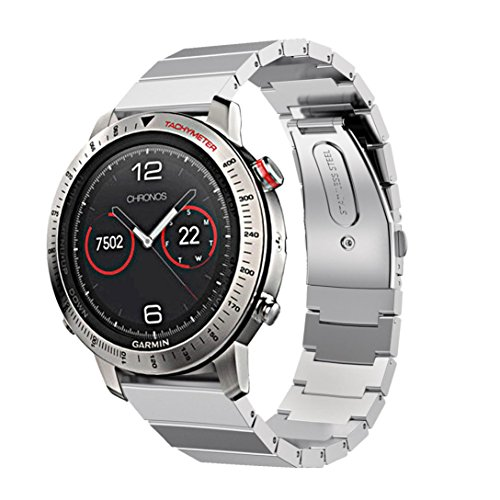 Watch Accessory Band,Howstar Sturdy and Durable Stainless Steel Bracelet Smart Watch Band Strap For Garmin Fenix Chronos (Silver)