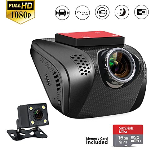 Acumen Dual Dash Cam  Dashboard Camera Recorder With Sony Exmor Sensor  Wide Angle View Lens  Rear Camera  Loop Recording  Night Vision  Parking Mode 16Gb Memory Card Included