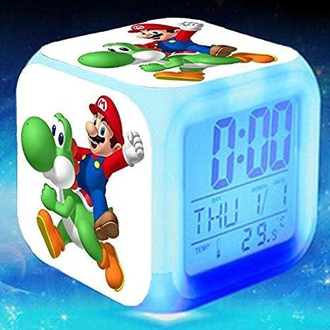 Amazon.com: Super Mario LED Alarm Clock Princess Peach reloj despertador Luigi Mario Watch KLOK Bowser Yoshi Wario Touch Lighting Up Clocks: Home Audio & ...