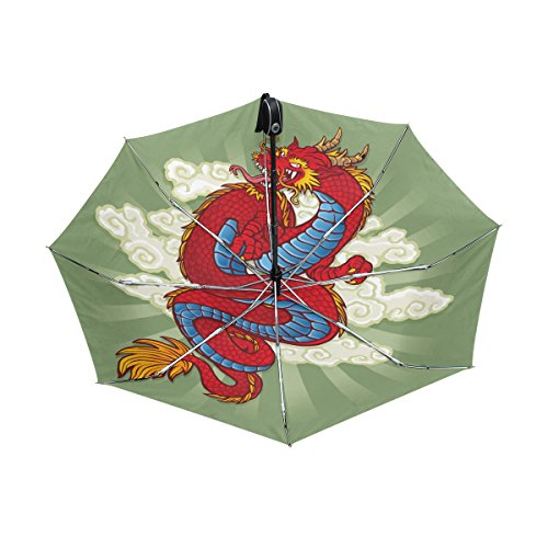 Chinese Dragon Print UPF 50+ Anti-UV Parasol Waterproof Windproof Reverse 3 Folds Auto Open Close Lightweight Umbrella