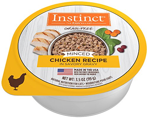 (Instinct Grain Free Minced Recipe with Real Chicken Natural Wet Cat Food by Nature's Variety, 3.5 oz. Cups (Case of)