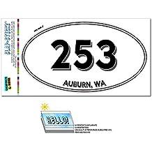 Graphics and More Area Code Oval Sticker 253 Washington WA Anderson Island - University Place - Auburn