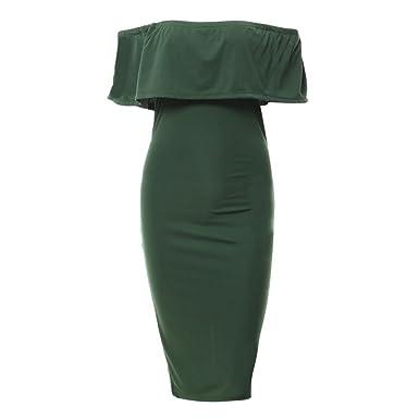 909aacf456e Fangcheng Off Shoulder Bodycorn Dress Women Ladies Sexy Backless Slim Fit  Dress Fashion Summer Casual Pencil Midi Dresses Streetwear  Amazon.co.uk   Clothing