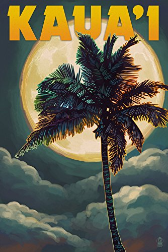 Kaua'i, Hawaii - Palm and Moon (24x36 SIGNED Print Master Giclee Print w/ Certificate of Authenticity - Wall Decor Travel Poster) by Lantern Press