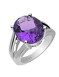3.90ctw,Genuine Amethyst 9x11mm Oval & Solid .925 Sterling Silver Rings