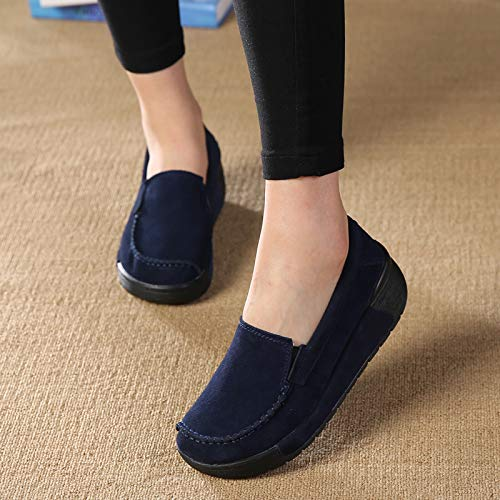 On colore Comfort Slip Platform Loafers Leather Shoes Dimensione Grigio Soft Fuxitoggo Eu 36 Nero Women n0xFzTw