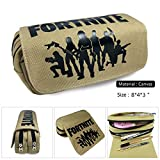 Fortnite Pencil Case,Large Capacity Stationery Pencil Pouch Bag Case Canvas Cosmetic Organizerwith Two Big Pockets for Boys,Girls,Teens,Adults