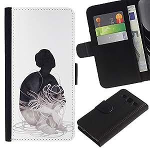 KLONGSHOP // Tirón de la caja Cartera de cuero con ranuras para tarjetas - Cableado - Samsung Galaxy S3 III I9300 //