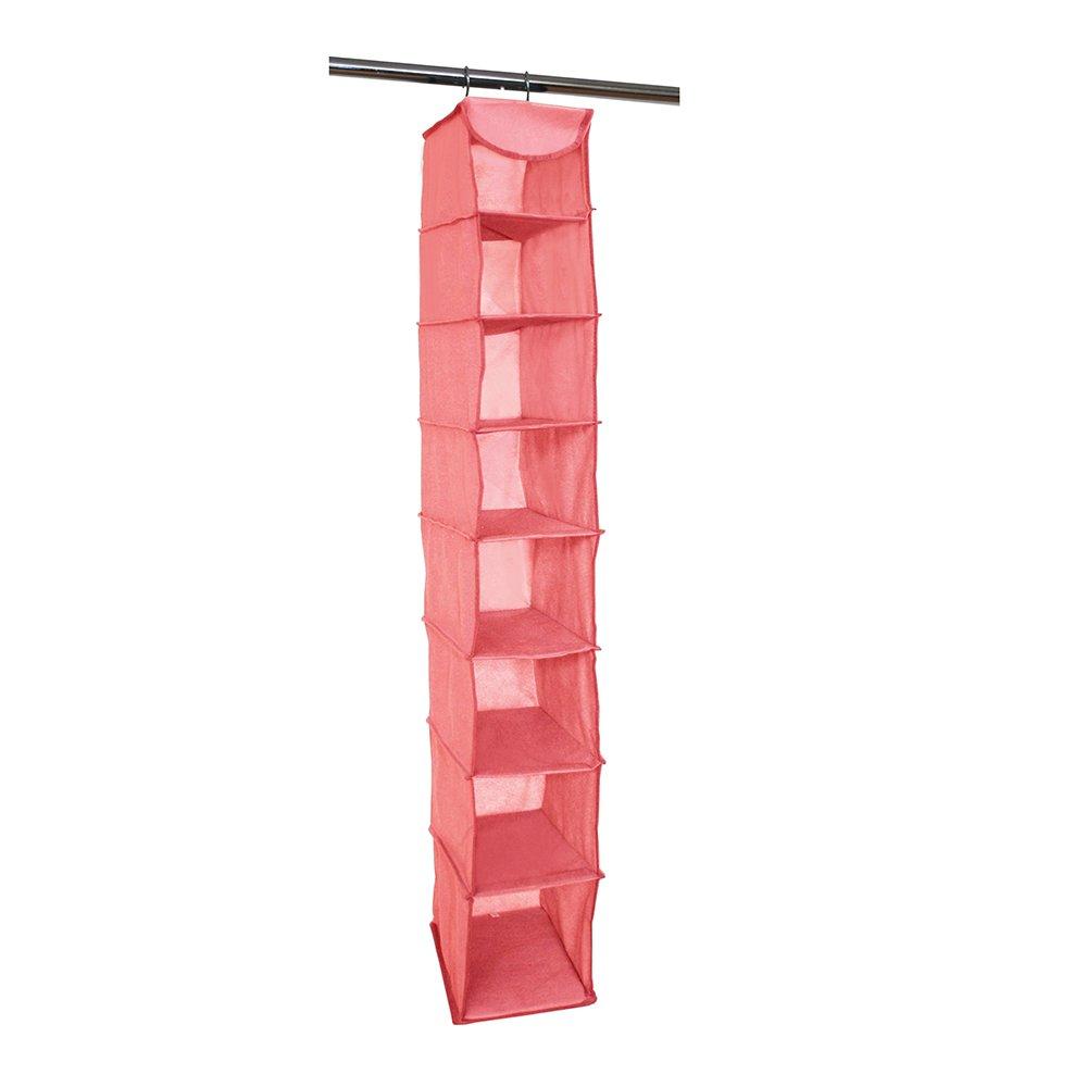 Campus Linens Hanging Shoe Organizer for College Dorm Storage (Color Coral)