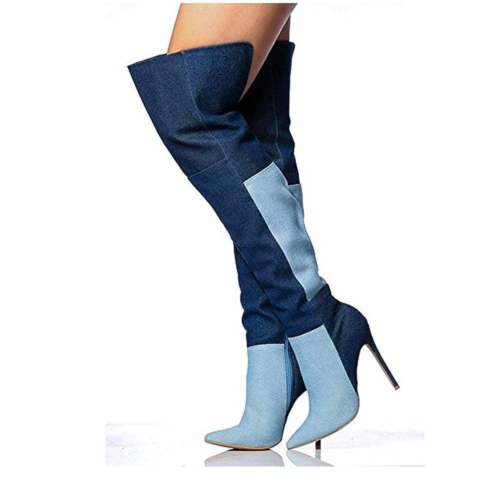 507753e92a TGKHUS Botas Vaqueras de Color Mixto para Mujer Botas Altas estrechas  combinadas con Botas de Rodilla: Amazon.es: Zapatos y complementos