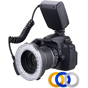 Macro LED Ring Flash & Light Includes 4 Diffusers (Clear, Warming, Blue, White) For The Canon SL1 (100D), T5i (700D), T4i (650D), T3 (1100D), T4 (1200D), T3i (600D), T1i (500D), T2i (550D), XSI (450D), XS (1000D), XTI (400D), XT (350D), 1D C, 70D, 60D, 60Da, 50D, 40D, 30D, 20D, 10D, 5D, 1D X, 1D, 5D Mark 2, 5D Mark 3, 7D, 6D, (Will Fit 49,52,55,58,62,67,72,77mm Lenses)