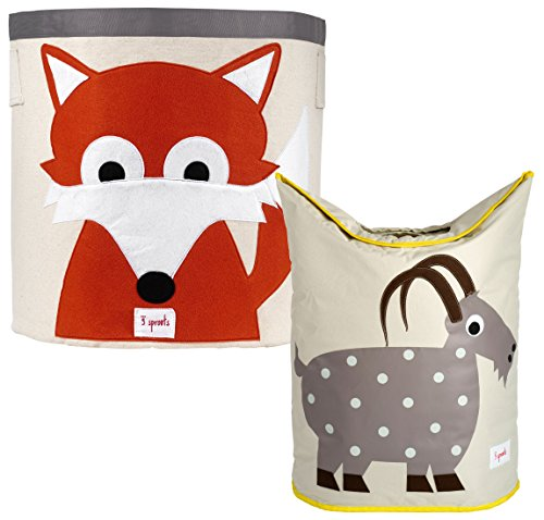 3 Sprouts Storage Bin and Laundry Hamper, Fox/Goat