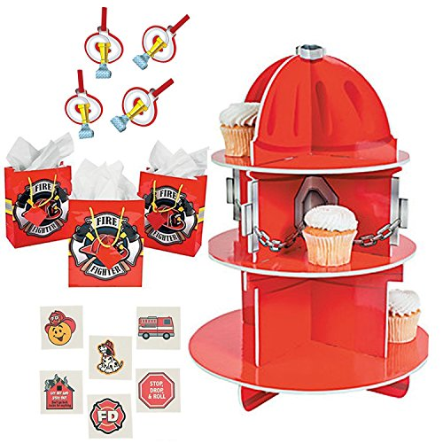 Firefighter Birthday Themed Value Pack for 12: Includes a Cupcake Holder, Gift Bags, Blowouts, Tattoos, and a Special Exclusive Thank You Card