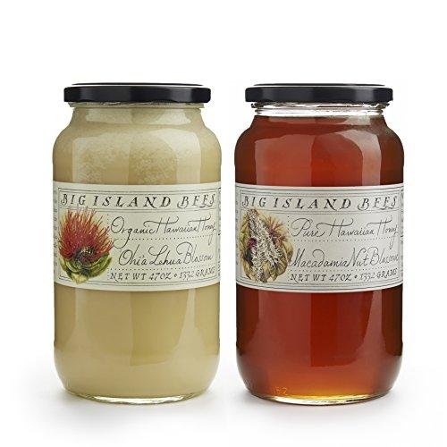 Combo Bundle Raw and Organic Hawaiian Honey by Big Island Bees - Large 47 oz Glass Jar (2 Pack, Lehua/MacNut) ()