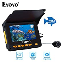 """EYOYO 4.3"""" HD Monitor Underwater Fishing Camera Fish Finder DVR Recorder Video Camera Easy Install on the Rod+30M Cable"""
