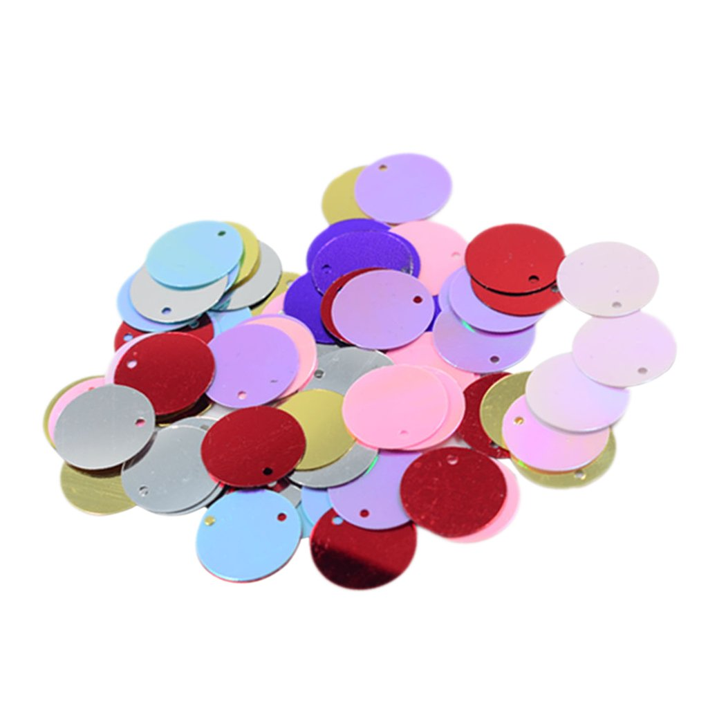 perfektchoice Christmas Bulk Loose Sequins Iridescent Spangles Flat Beads with Hole for Crafts Mixed Color DIY Arts Crafts 10 Grams 16 mm Sewing,Wedding Decoration
