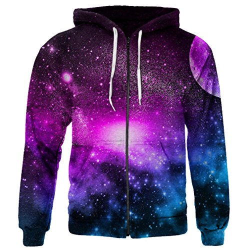 SAYM Unisex Zip up Pullover Pockets Galaxy Jackets Sweatshirts Hoodies 25 L