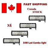 "Topcarlight 4 Pcs 54W 9"" Waterproof LED Work Light Bar Spot Flood Combo Beam Off Road Light for Truck Car ATV SUV Jeep Boat 4WD"